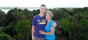 Ouida James and son, Travis, atop High Temple at Lamanai